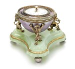 A Fabergé silver-gilt guilloché enamel and bowenite barometer, workmaster Henrik Wigström, St Petersburg, 1903