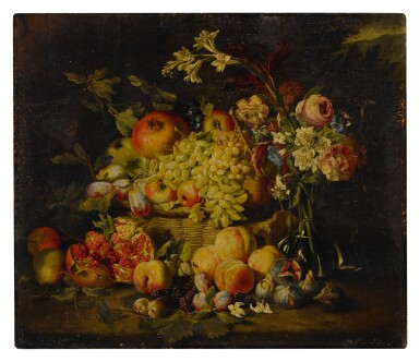 View 1. Thumbnail of Lot 649. Still life of flowers and fruits, including pomegranates, peaches, and grapes.