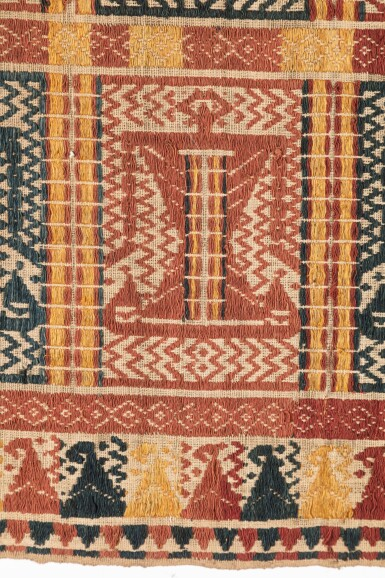 "View 2. Thumbnail of Lot 41. Tissu cérémoniel ""à jonques"" palepai, Lampung, Sumatra, Indonesia, ca.1900 | Ceremonial hanging ""ship cloth"" palepai, Lampung, Sumatra, Indonesia, about 1900."