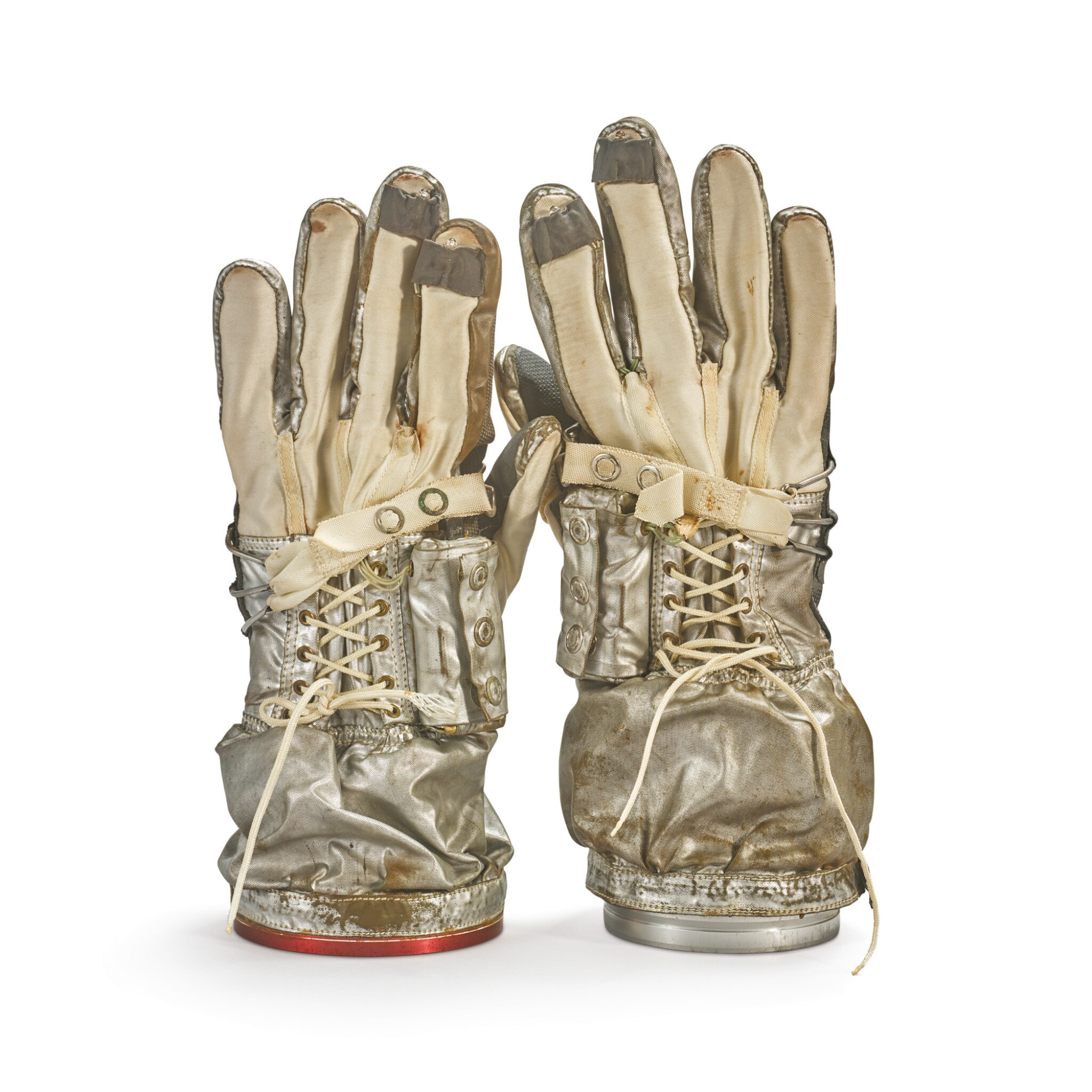View full screen - View 1 of Lot 9. GEMINI G2-G PROTOTYPE SPACESUIT GLOVES WITH WORKING FINGER-TIP LIGHTS, MADE FOR ALAN SHEPARD, CA 1963.