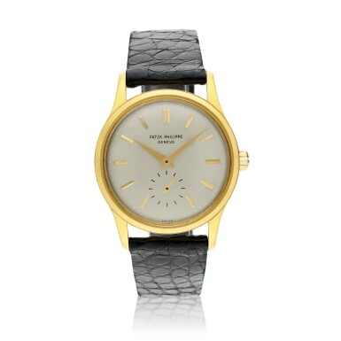 View 1. Thumbnail of Lot 233. Reference 3439  A yellow gold automatic wristwatch, Made in 1961.