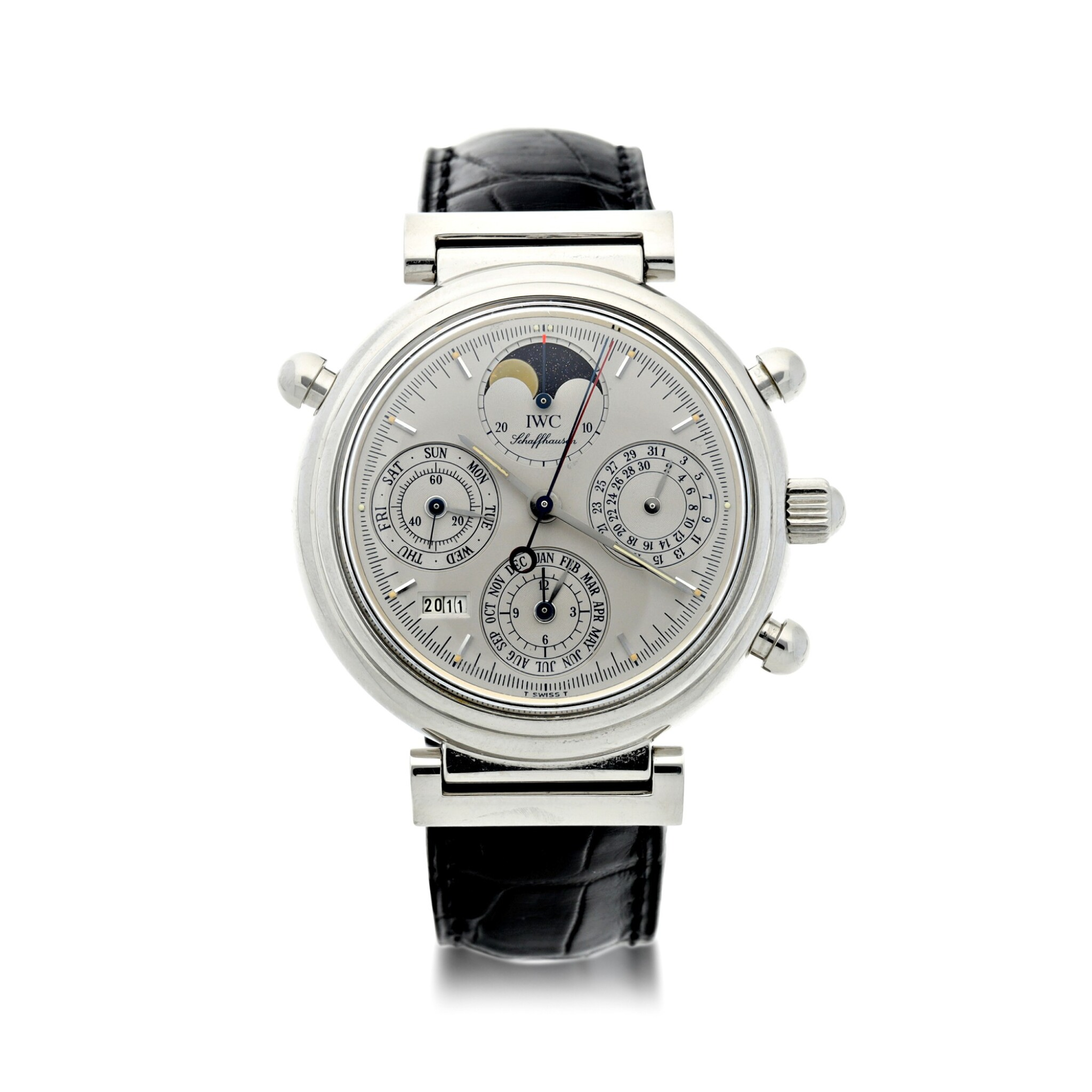 View full screen - View 1 of Lot 236. REFERENCE 3751 DA VINCI PERPETUAL RATTRAPANTE A LIMITED EDITION PLATINUM AUTOMATIC PERPETUAL CALENDAR SPLIT SECONDS CHRONOGRAPH WRISTWATCH WITH MOON PHASES AND YEAR DISPLAY, CIRCA 1998.
