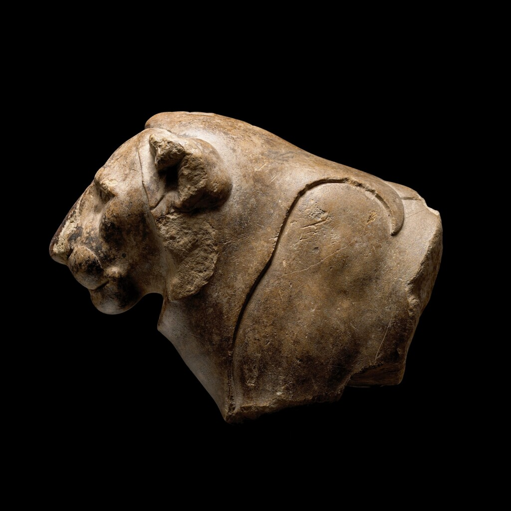 A FRAGMENTARY EGYPTIAN LIMESTONE FOREQUARTERS OF A LION, 30TH DYNASTY/EARLY PTOLEMAIC PERIOD, CIRCA 380-250 B.C.
