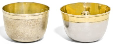 TWO GERMAN SILVER TUMBLER CUPS, ONE A 'TRINKSPIELE', CHRISTIAN HORNUNG II AND JOHANN WAGNER, AUGSBURG, CIRCA 1680