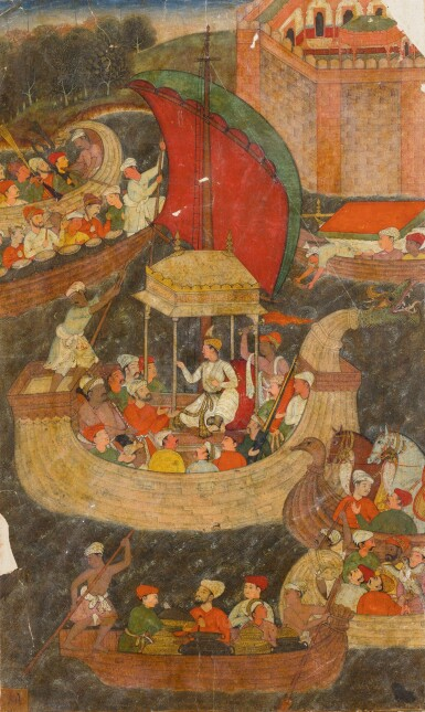 AKBAR AND HIS ENTOURAGE JOURNEY BY BOAT, ILLUSTRATED PAGE FROM THE 'FIRST' (VICTORIA AND ALBERT MUSEUM) AKBARNAMA, INDIA, MUGHAL, CIRCA 1590-95