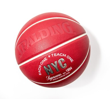 "View 2. Thumbnail of Lot 7. SUPREME SPALDING ""EACH ONE TEACH ONE"" BASKETBALL RED."