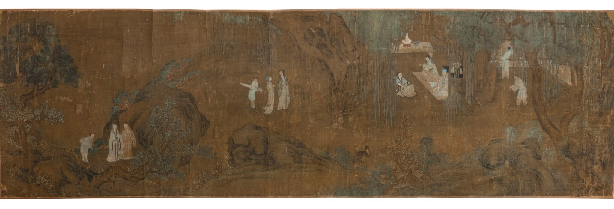 View 1 of Lot 93. Anonyme Les sept sages de la forêt de bambous Dynastie Qing, XVIIIE siècle | 清十八世紀 竹林七賢圖 | Anonymous, Seven Sages of the Bamboo Grove, ink and color on silk, handscroll, Qing Dynasty, 19th century.