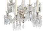 A PAIR OF CUT AND MOULDED GLASS SIX-LIGHT WALL LIGHTS IN THE MANNER OF BACCARAT