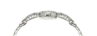 View 4. Thumbnail of Lot 157.  Retailed by Tiffany & Co.: A platinum and diamond-set bracelet watch, Circa 1950.