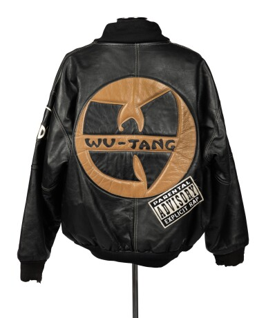 "View 1. Thumbnail of Lot 79.  ""UNCLE"" RALPH MCDANIELS' ORIGINAL LEATHER WU-TANG CLAN PARENTAL ADVISORY JACKET, ca 1993."