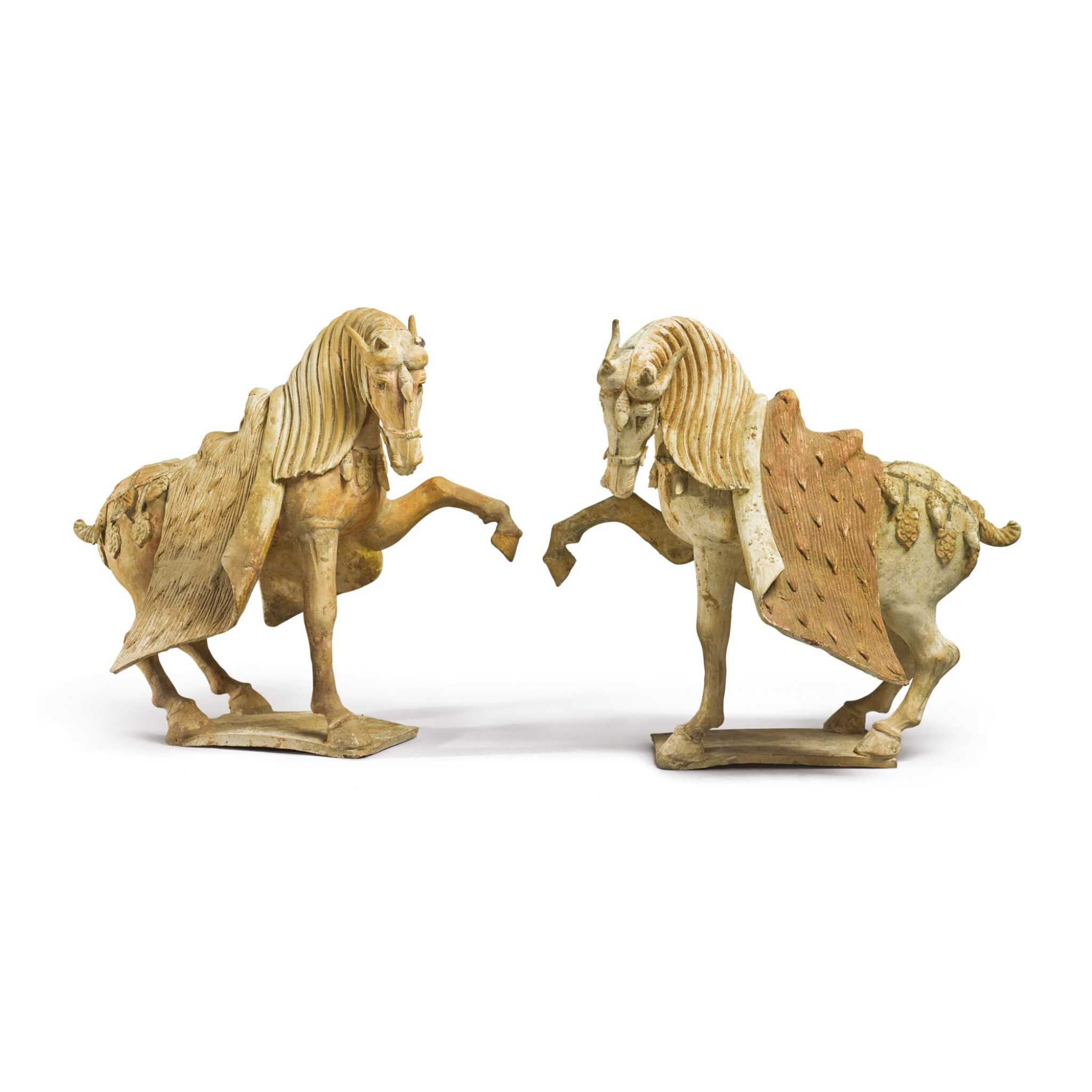 View full screen - View 1 of Lot 688. A PAIR OF PAINTED POTTERY HORSES, TANG DYNASTY.