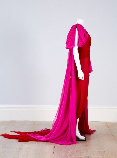 View 4. Thumbnail of Lot 35. Red and Fuchsia Pink Silk Chiffon Asymmetrically Draped Couture Gown, Worn by Marisa Tomei for the 2019 Emmy Awards, Autumn-Winter 2019/20 Collection.