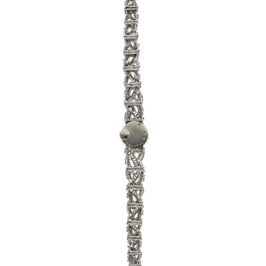 View 6. Thumbnail of Lot 160. A lady's white gold and diamond-set backwind wristwatch, Circa 1960.