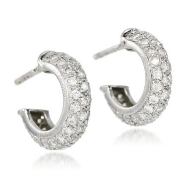 View 2. Thumbnail of Lot 53. Cartier | Pair of diamond earrings.