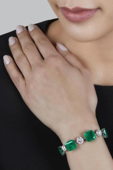 View 3. Thumbnail of Lot 72. Emerald and Diamond Bracelet.