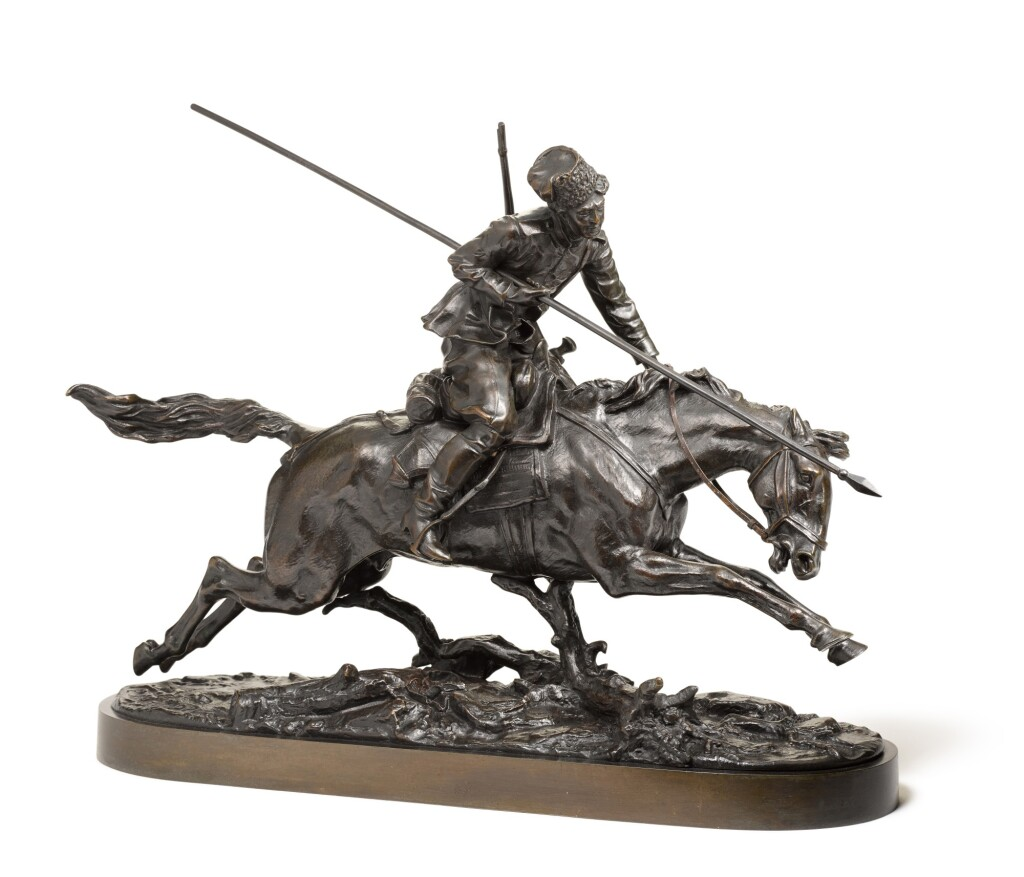 GALLOPING COSSACK: A BRONZE FIGURAL GROUP, AFTER THE MODEL BY EVGENI LANCERAY (1848-1886)