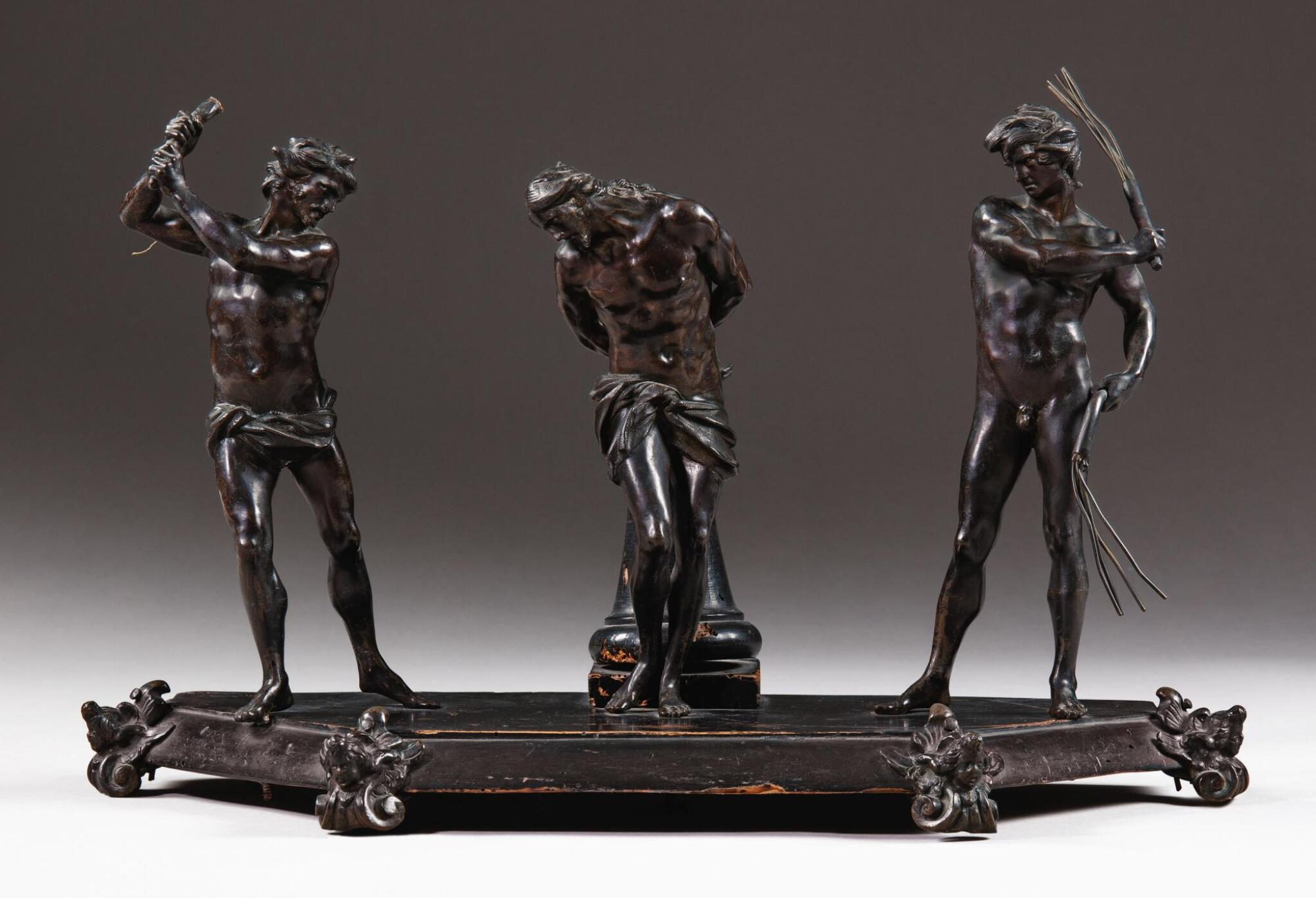 View full screen - View 1 of Lot 71.  AFTER ALESSANDRO ALGARDI (1598-1654), ITALIAN, ROME, 17TH CENTURY   THE FLAGELLATION OF CHRIST.