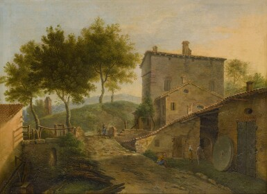 View 2. Thumbnail of Lot 104. Village landscape with a mill and various figures.