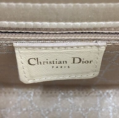 View 9. Thumbnail of Lot 750. DIOR | CREAM LADY DIOR MINI BAG IN SATIN WITH MINI PEARL BEADING CANNAGE AND CRYSTAL TRIM.