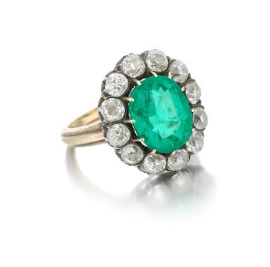 View 1. Thumbnail of Lot 9. Emerald and diamond ring (Anello con smeraldo e diamanti), 1910.