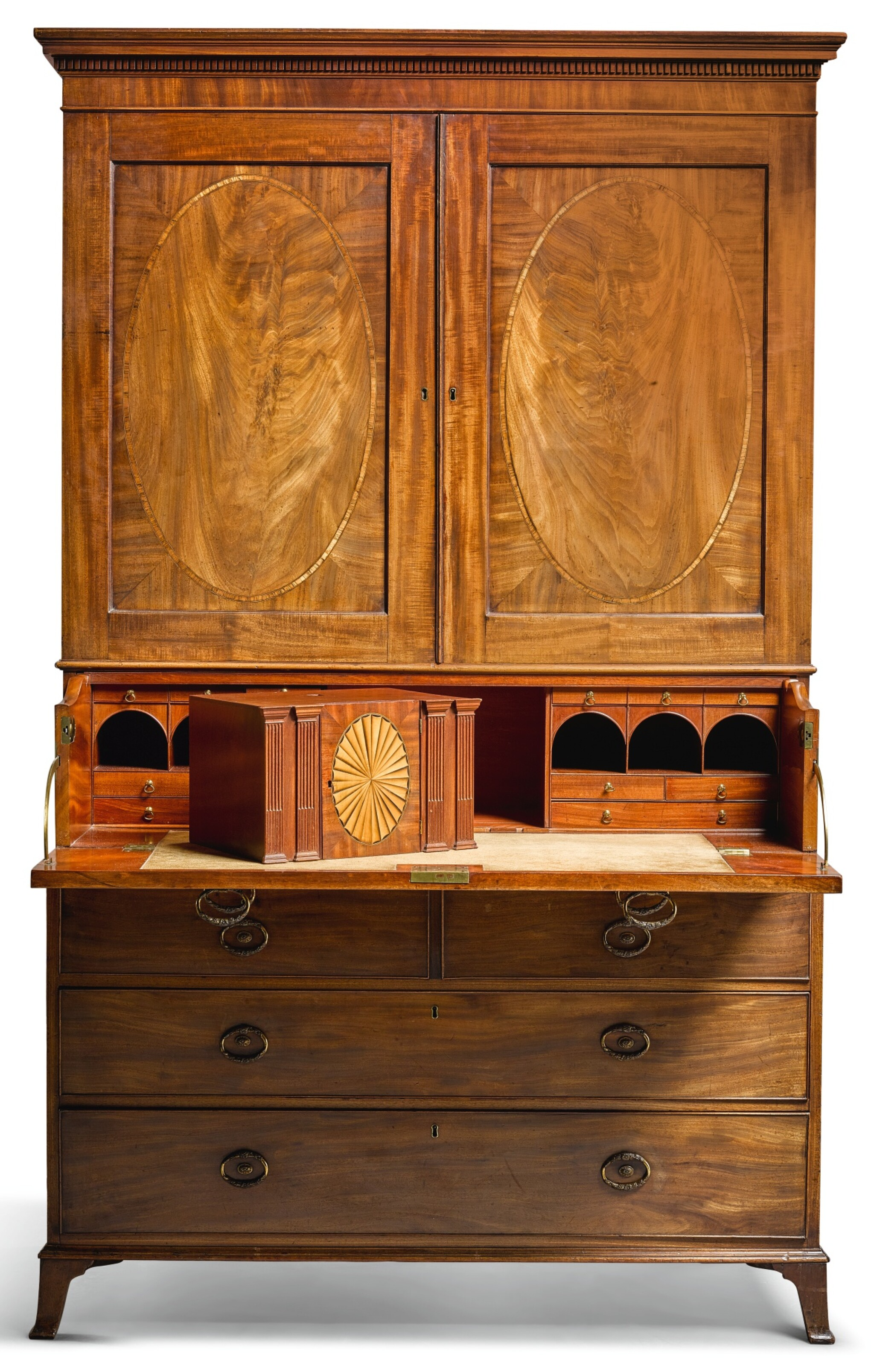 View 1 of Lot 109.  A GEORGE III MAHOGANY SECRETAIRE PRESS CUPBOARD, CIRCA 1790, ATTRIBUTED TO GILLOWS.