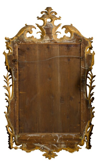 View 6. Thumbnail of Lot 67. A George II carved giltwood wall mirror, probably Irish, mid-18th century.