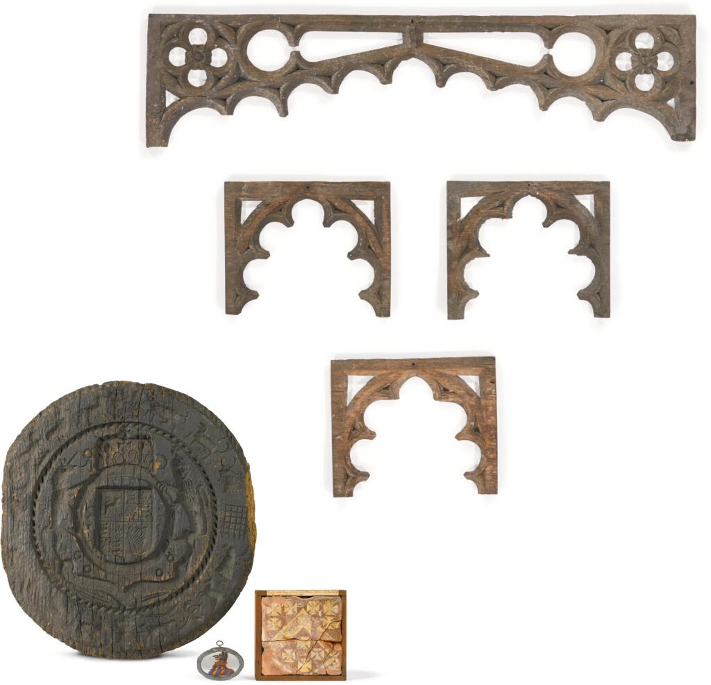 A SMALL 'ANTIQUARIAN' COLLECTION OF ENGLISH OBJECTS, THE TRACERY 15TH CENTURY
