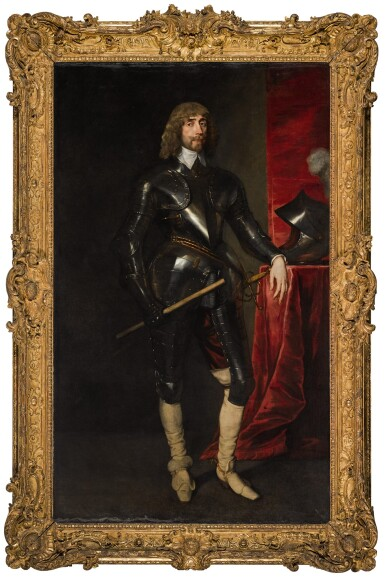 View 2. Thumbnail of Lot 26. Portrait of George Hay, 2nd Earl of Kinnoull (circa 1595–1644), full-length, wearing armour, and holding a baton in his right hand, his left resting on a table with a red cloth, upon which is his helmet | 《喬治・黑伊,金諾伯爵二世(約1595-1644年)身披鎧甲、右手持棍、左手搭在桌邊的全身肖像,桌上鋪紅色桌布並擺放頭盔》.