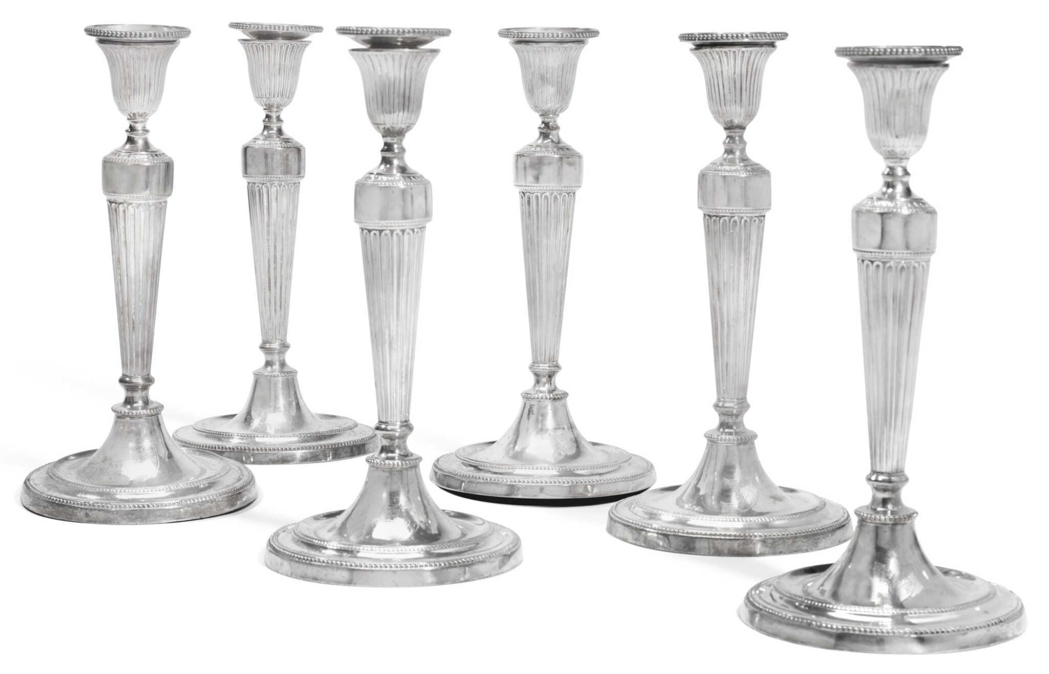 View full screen - View 1 of Lot 127.  A SET OF SIX GEORGE III SILVER CANDLESTICKS, JOHN WINTER & CO, SHEFFIELD, 1780.