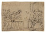DUTCH CARAVAGGIST, EARLY 17TH CENTURY   RECTO: MUSICIANS PLAYING BEHIND A BALUSTRADE FOR A PAIR OF DANCERS; VERSO: TWO STUDIES AFTER ANTIQUE SCULPTURES OF TORSOS