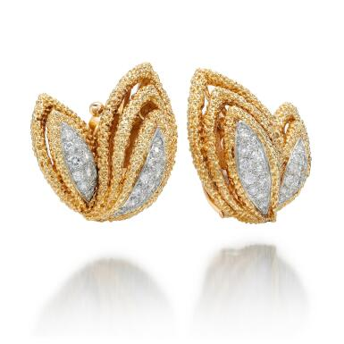 View 2. Thumbnail of Lot 8.  PAIR OF GOLD AND DIAMOND EAR CLIPS | VAN CLEEF & ARPELS, 1970S.