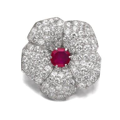 View 1. Thumbnail of Lot 601. Cartier | Ruby and diamond brooch, circa 1937 | 卡地亞 | 紅寶石配鑽石別針, 約1937年.