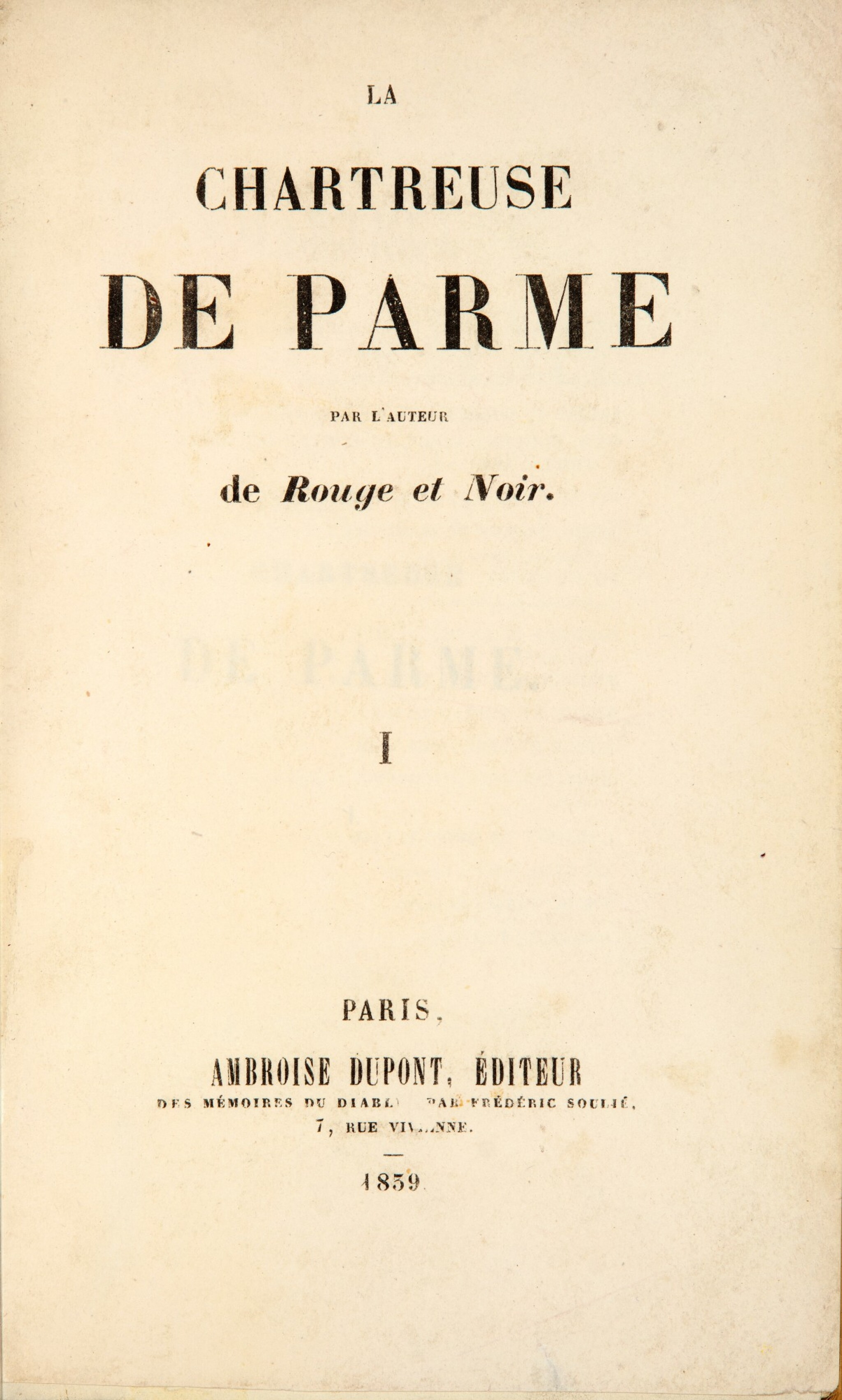 View 1 of Lot 190. STENDHAL. La Chartreuse de Parme. 1839. 2 vol, demi-mar. de Pagnant, relié sur brochure. Édition originale..