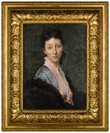View 3. Thumbnail of Lot 5. JULES-ÉLIE DELAUNAY     PORTRAIT OF A LADY, 'MME. B...', HALF-LENGTH, WEARING A BLUE DRESS WITH PINK RIBBONS, AND A FUR WRAP.