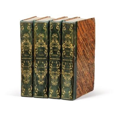 View 1. Thumbnail of Lot 95.  Les Trois mousquetaires. 1844. 8 t. en 4 vol. Rare édition originale. Reliure de l'époque, avec chiffre O.N.C.M.