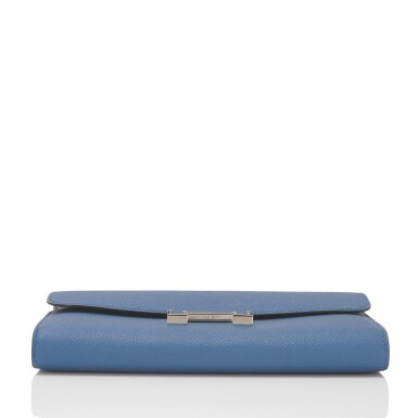 Hermès Verso Constance Long Wallet of Bleu Agate Epsom Leather with Palladium Hardware