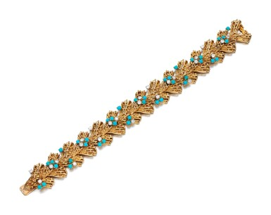 View 2. Thumbnail of Lot 115. TURQUOISE AND DIAMOND BRACELET, CARTIER, 1960S.