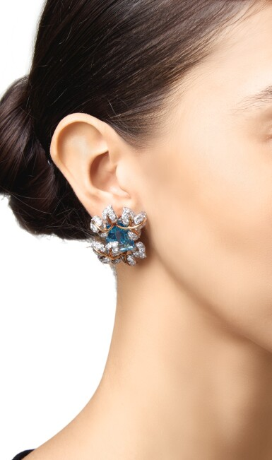 View 2. Thumbnail of Lot 99. PAIR OF AQUAMARINE AND DIAMOND EARCLIPS, TIFFANY & CO..