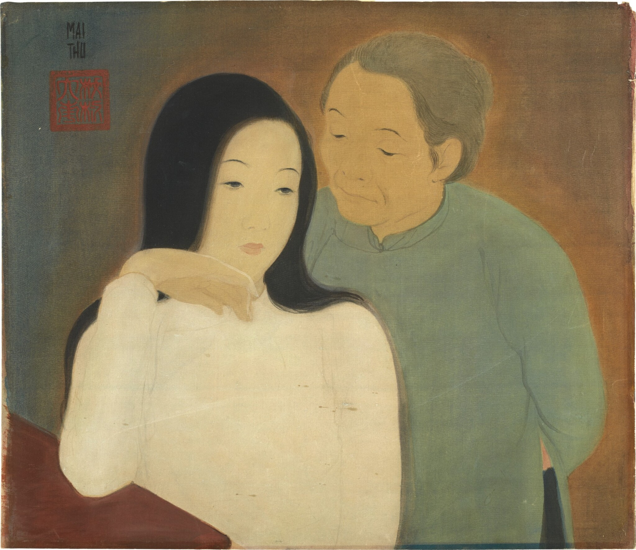 View full screen - View 1 of Lot 236. MAI TRUNG THU 梅忠恕 | PORTRAIT OF A LADY AND MOTHER 仕女與母親的肖像.