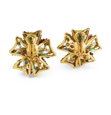 View 3. Thumbnail of Lot 69. Giodoro, Pair of gem-set, cultured pearl and diamond ear clips [Paire de clips d'oreille pierres de couleur, perles de culture et diamants].