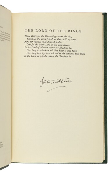 View 1. Thumbnail of Lot 264. Tolkien, J.R.R. | The Lord of the Rings Trilogy, uniformly and handsomely bound.