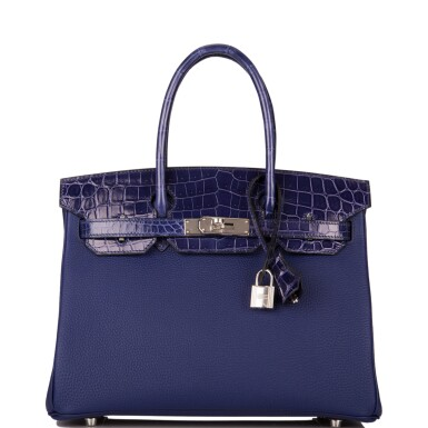 """Hermès Bleu Encre """"Touch"""" Birkin 30cm of Shiny Niloticus Crocodile and Togo Leather with Palladium Hardware"""
