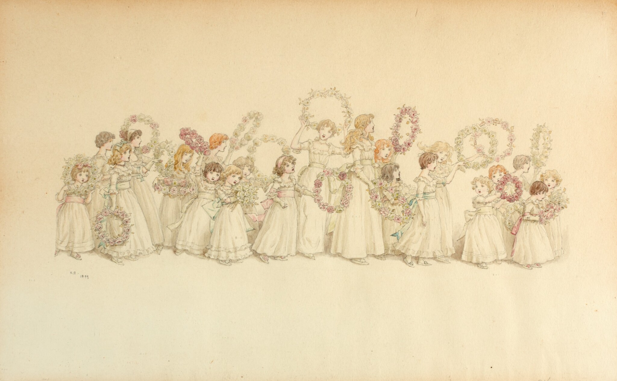 View full screen - View 1 of Lot 75. GREENAWAY | Procession of Maidens with Pink Garlands, pencil and watercolour drawing, 1899.