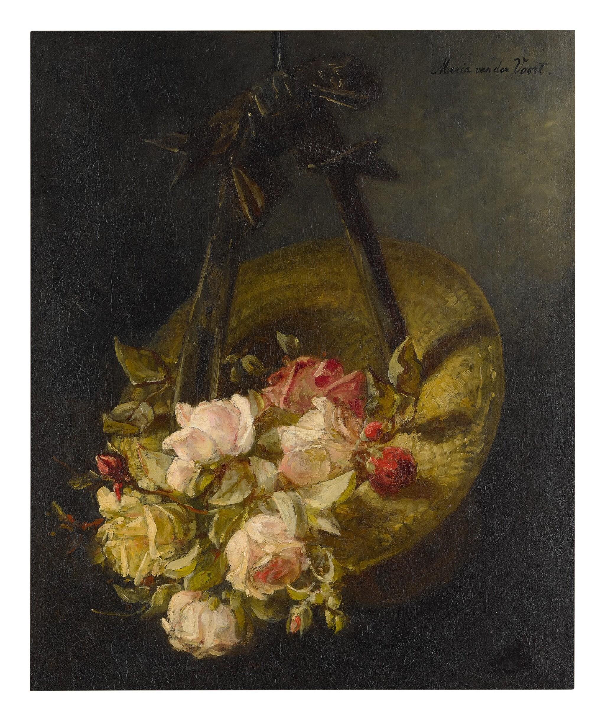 MARIA VAN DER VOORT IN DE BETOUW-NOURNEY | STILL LIFE OF FLOWERS IN A BONNET