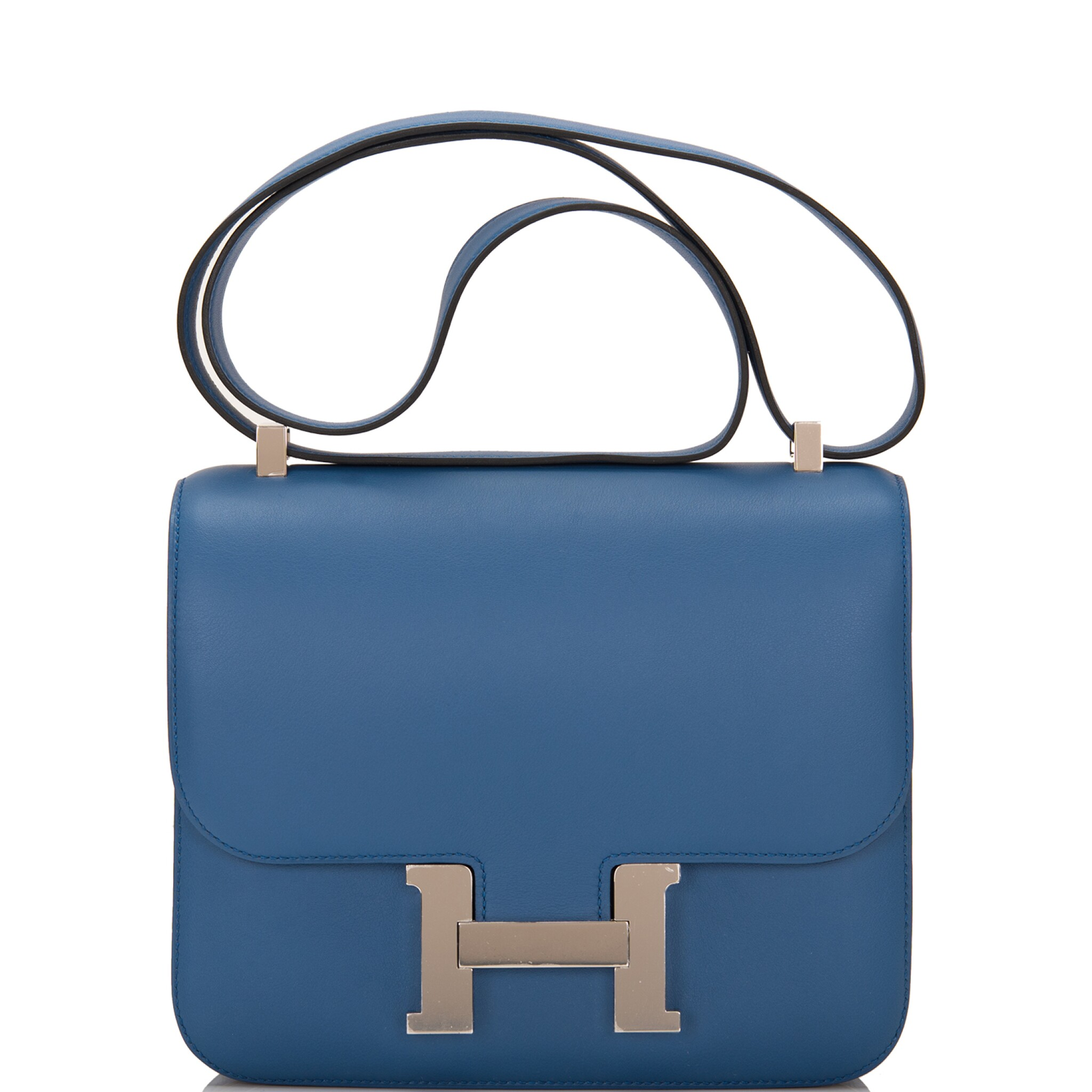 View full screen - View 1 of Lot 18.  Hermès Bleu Agate Constance 24cm of Swift Leather with Palladium Hardware.