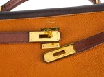 KELLY 32 TRICOLOR SELLIER EPSOM EBÈNE, GOLD AND BROWN COLOUR WITH GOLD HARDWARE. HERMÈS, 1990