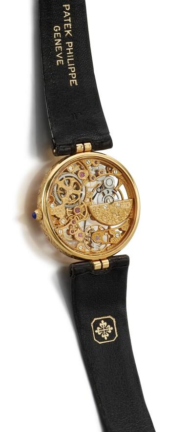 View 3. Thumbnail of Lot 8085. PATEK PHILIPPE   REFERENCE 3878   A YELLOW GOLD SKELETONIZED WRISTWATCH, CIRCA 1994   百達翡麗   型號3878   黃金鏤空腕錶,約1994年製.