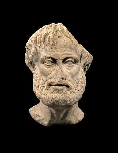 View 1. Thumbnail of Lot 247. A ROMAN MARBLE PORTRAIT HEAD OF ARISTOTLE, CIRCA 1ST CENTURY A.D..