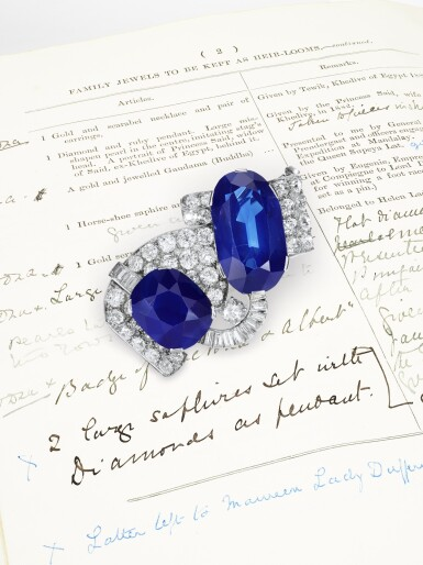 View 5. Thumbnail of Lot 179. Important sapphire and diamond brooch, 1930s | 藍寶石配鑽石別針,1930年代.
