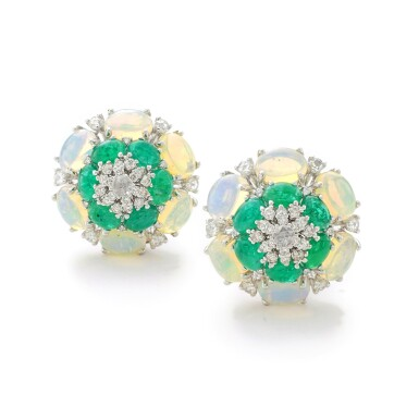 View 1. Thumbnail of Lot 14. MICHELE DELLA VALLE   PAIR OF EMERALD, OPAL AND DIAMOND EAR CLIPS.